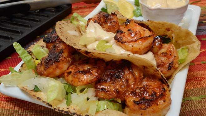 Grilled Shrimp Tacos with a Zesty Cream Sauce