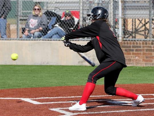 Wichita Falls High School's Kamryn Mitchell hits a