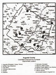 Map of iron furnaces in Augusta County.