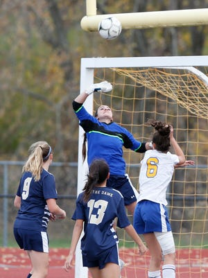 Elmira Notre Dame's goalie, Taylor Gray deflects a shot during Saturday's Section 4 Class C final versus Trumansburg held in Norwich on October 28, 2017.