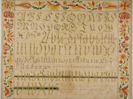 This Vorschrift, or writing sample, is signed by Jacob Otto, Rapho Township, Lancaster County, PA, 1795.