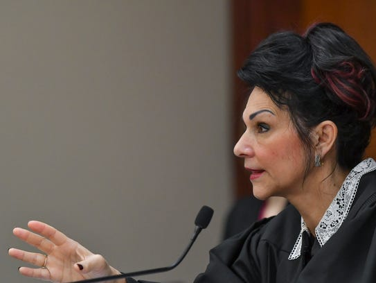 Circuit Judge Rosemarie Aquilina addresses former MSU