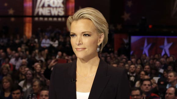 Megyn Kelly waits for the start of the Republican presidential primary debate in Des Moines, Iowa, in January.