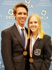 Patrick Brandenburg and Alexa Sheehan were Top 10 finalists in their event at DECA's International Career Development Conference in Anaheim, California, in April.