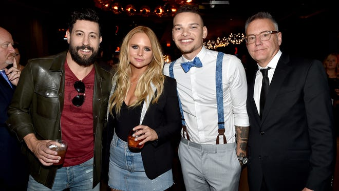 RCA Nashville artists Matthew Ramsey of Old Dominion, Miranda Lambert, Kane Brown and Sony Music Nashville Chairman/CEO Randy Goodman attend the Sony Music Nashville ACM Party Presented by Hostess at T-Mobile Arena on April 2, 2017, in Las Vegas.