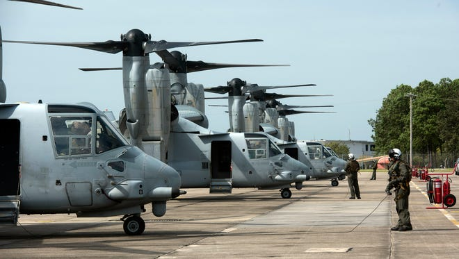 U.S. Marine Corps MV-22 Osprey aircraft based out of New River, North Caroline arrive at Pensacola Naval Air Station Thursday, Aug. 31, 2017. Four of the tilt-rotor aircraft from Marine Corps squadron VMM-162 are staging at NAS Pensacola while awaiting the arrival of the U.S.S. Kearsarge (LHD-3) in the Gulf of Mexico, on a mission to provide humanitarian support to the natural disaster in Texas.