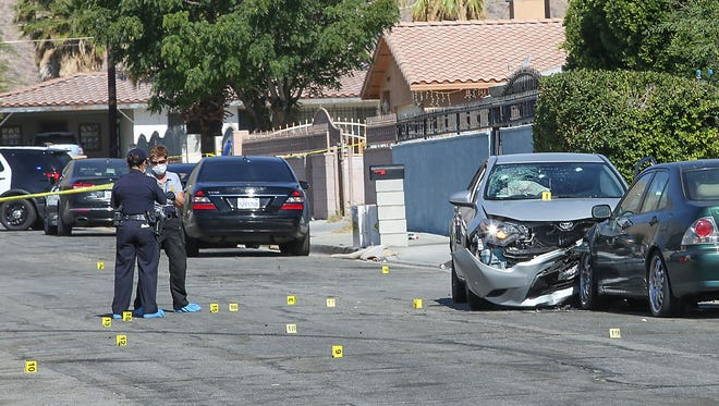 Police investigate a shooting on Bon Air Dr. in Palm Springs, June 4, 2018.