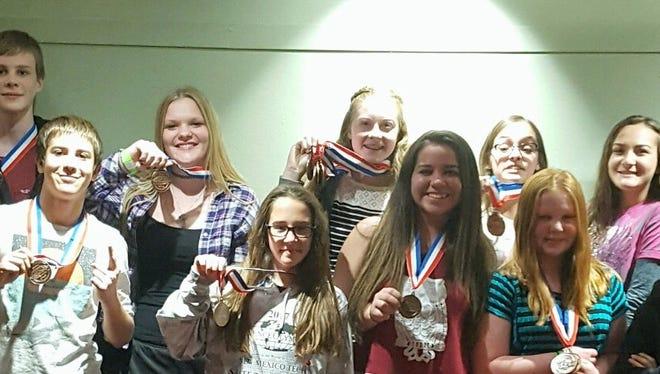 RMMS, a B division team (6-9 grades) had 13 participants: Josh Jackson (8th), Joseph McGinnis (8th), Josue Leck (8th), Alexis Bennett (8th) Emily Davenport (6th), Rachel Simpson (8th,) Tatumn O'Toole (8th), Vivianna Nichol (8th), Callie Sweetser (7th), Hunter Latham (9th), Micheal Frano (7th), Serna Gregory (8th) and not pictured Miranda Vasquez (6th).