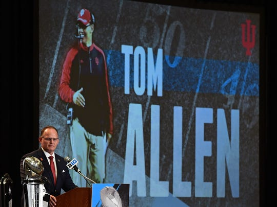 Indiana coach Tom Allen addresses the media during