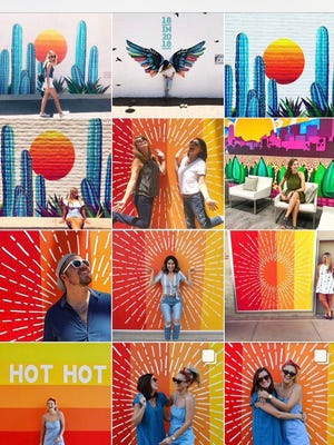 Residents tag local artist Lauren Lee on Instagram as they pose with her murals. Lee is well known for her colorful murals around the Valley.