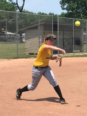Junior Hannah Lindsey fires a ball to first during one of Speedway's infield drills.