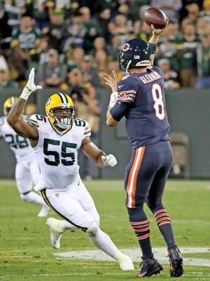 Green Bay Packers linebacker Ahmad Brooks (55) pressures quarterback Mike Glennon (8) Thursday, September 28, 2017 against the Chicago Bears at Lambeau Field in Green Bay, Wis.