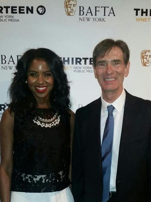 """Ashley Dené Smith and Mark Murphey, who played Lyndon B. Johnson, are at an event for """"JFK-LBJ: A Time for Greatness."""""""