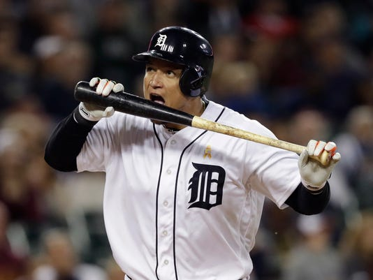 Detroit Tigers' Miguel Cabrera reacts after flying out during the sixth inning of the second game of a baseball doubleheader against the Cleveland Indians, Friday, Sept. 1, 2017, in Detroit. (AP Photo/Carlos Osorio)