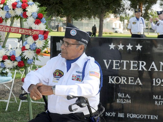 David Lopez was at the wreath-laying ceremony by Chapter 56 of the Korean War Veterans at Veterans Park in Santa Paula in this file photo.