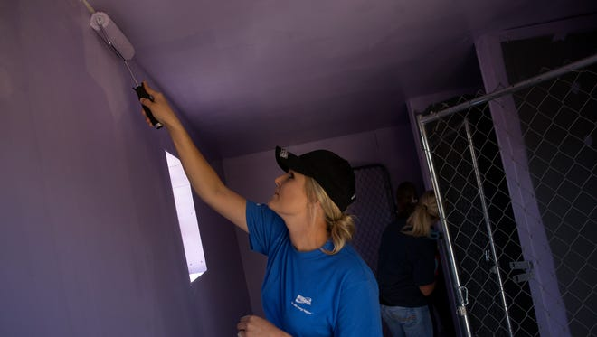 Charmaine Martine of Williams Companies, Inc. paints a kennel Wednesday that houses pets owned by clients of the Family Crisis Center's Marge's Place in Farmington.
