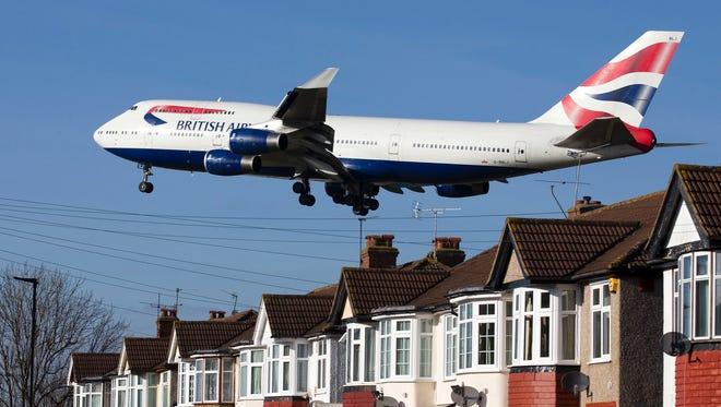 This file photo from Feb. 18, 2015, shows a British Airways 747 aircraft coming in to land at London's Heathrow Airport.