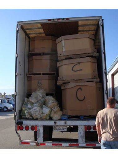 Nearly 20 tons of weed, cocaine and heroin were found in this semi truck, which was stopped on I-10 en route to a nearby warehouse, in 2010.