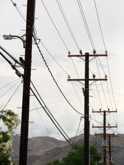 Utility poles and wires line the view of a Palm Desert neighborhood.