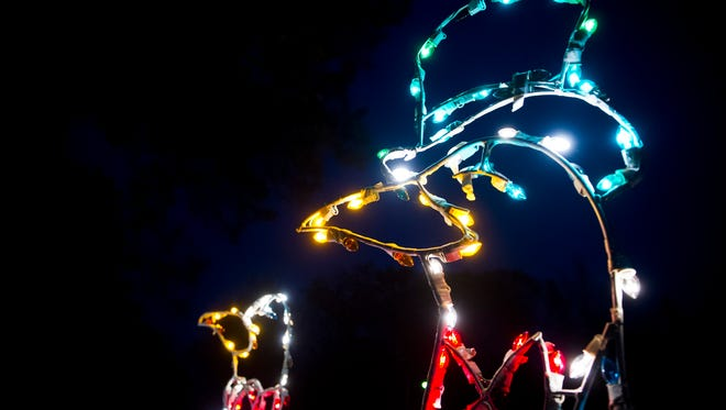 Light displays line the road during Ritzy's Fantasy of Lights at Garvin Park in Evansville, Friday, Nov, 25, 2016. The event is put on by the Easterseals Rehabilitation Center and runs through Jan. 1.