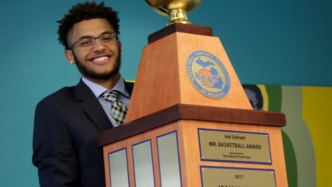 Kalamazoo Central's Isaiah Livers, a future Wolverine, is awarded the 2017 Mr. Basketball award Monday Mar. 20, 2017 at the Detroit Free Press.