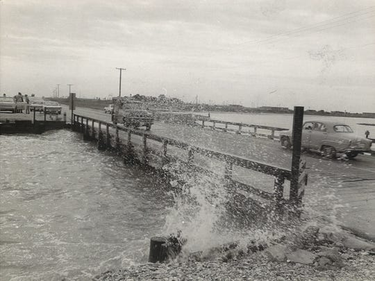 The Oso Bridge connected Ocean Drive to Ward Island and the University of Corpus Christi. In this photo taken Sept. 19, 1967, the tide was rising as Hurricane Beulah approached in the Gulf. The bridge was washed away by the storm.