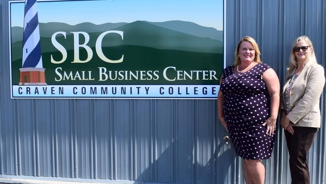 Craven Community College's Small Business Center, led by Director Deborah Kania (right) and assistant Christina Bowman-Murray, recently relocated to the Volt Center.
