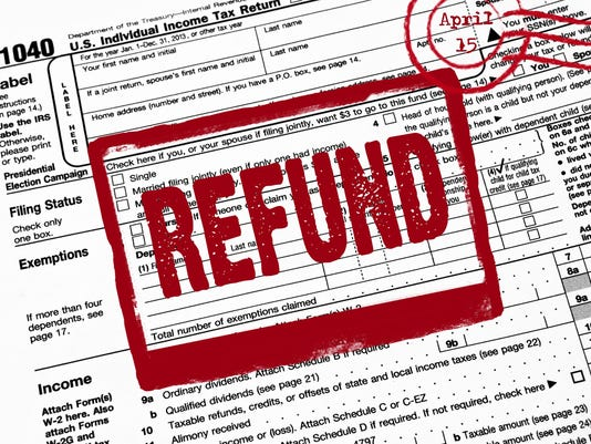 red refund stamp on tax form