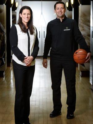 Vanderbilt basketball coaches Stephanie White and Bryce Drew Tuesday, Oct. 25, 2016, in Nashville, Tenn.