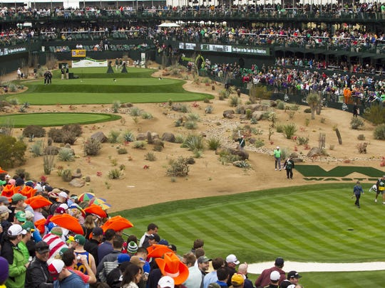 The 16th hole at TPC Scottsdale is a favorite of Waste Management Phoenix Open spectators with its stadium seating and party atmosphere.