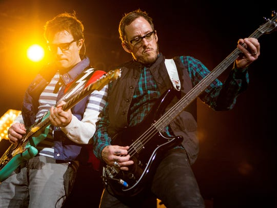 (from left to right): Weezer frontman Rivers Cuomo