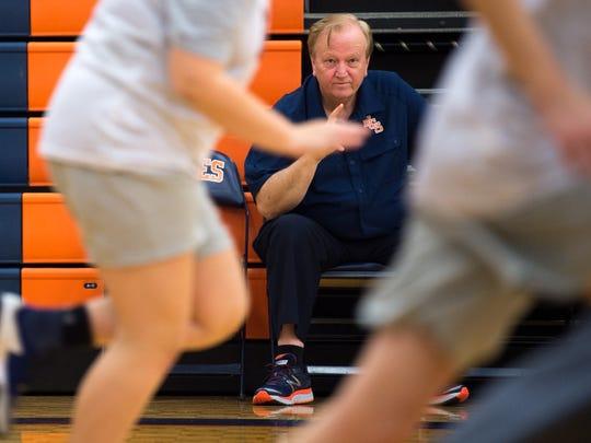 Joey Spann watches his basketball players practice at Nashville Christian School on Thursday, Nov. 2, 2017.