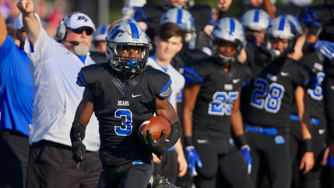 Bartram running back A.J. Jones III sprints down the sideline for a touchdown on the opening kickoff in a 28-14 win over Creekside in September 2019.