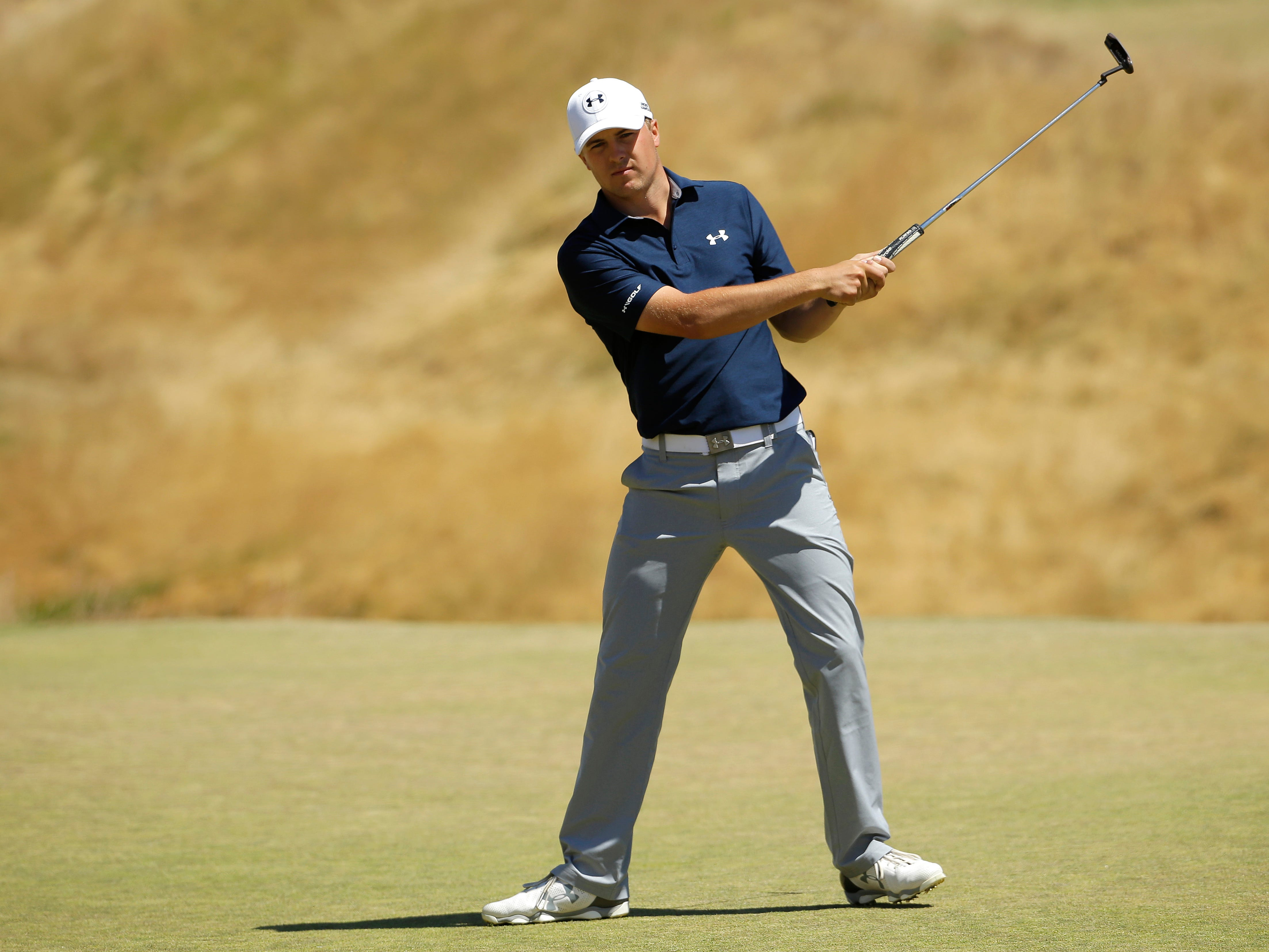 Jordan Spieth reacts after missing a putt on the sixth hole during the second round of the U.S. Open golf tournament at Chambers Bay on Friday, June 19, 2015 in University Place, Wash. (AP Photo/Ted S. Warren)