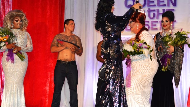 Contestant Tommi Rose performs is crowned at the Desert AIDS Project's annual Queen of the Desert pageant on Wednesday, June 1, 2016.