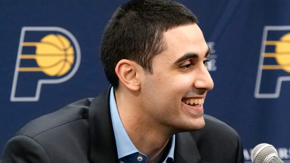 INDIANAPOLIS, IN - JUNE 21:  2019 NBA Indiana Pacers Draftee Goga Bitadze speaks with the media during a press conference on June 21, 2019 at Bankers Life Fieldhouse in Indianapolis, Indiana. NOTE TO USER: User expressly acknowledges and agrees that, by downloading and/or using this photograph, user is consenting to the terms and conditions of the Getty Images License Agreement. Mandatory Copyright Notice: Copyright 2019 NBAE (Photo by Ron Hoskins/NBAE via Getty Images)