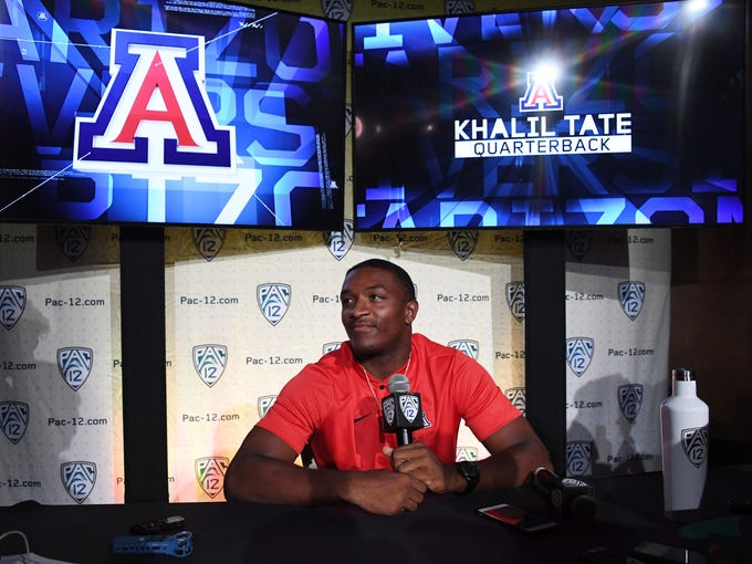 Arizona Wildcats quarterback Khalil Tate speaks during