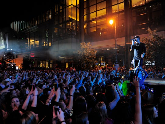 Sam Hunt performs for his Street Party along Fifth