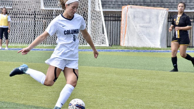 Columbia College's Allison Floyd prepares to pass the ball during a match last season.