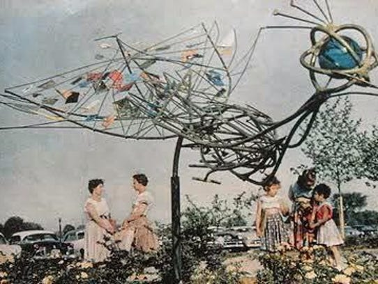 An artist's rendering of the giant peacock sculpture