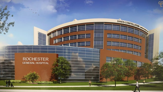 An artist rendering of the new seven-story addition to Rochester General Hospital Wednesday. The new Sands Constellation Center for Critical Care will be complete by 2022.