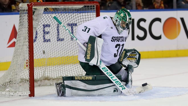 Michigan State goaltender John Lethemon, shown in a game last season, made 29 saves on Saturday night in the Spartans' 2-0 loss at Arizona State.