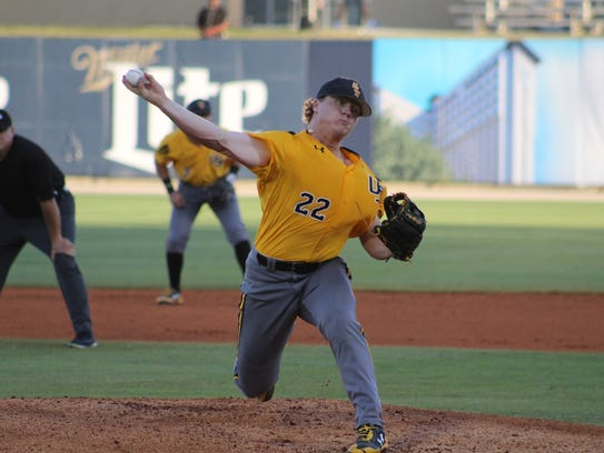 Southern Miss pitcher Taylor Braley delivers to the