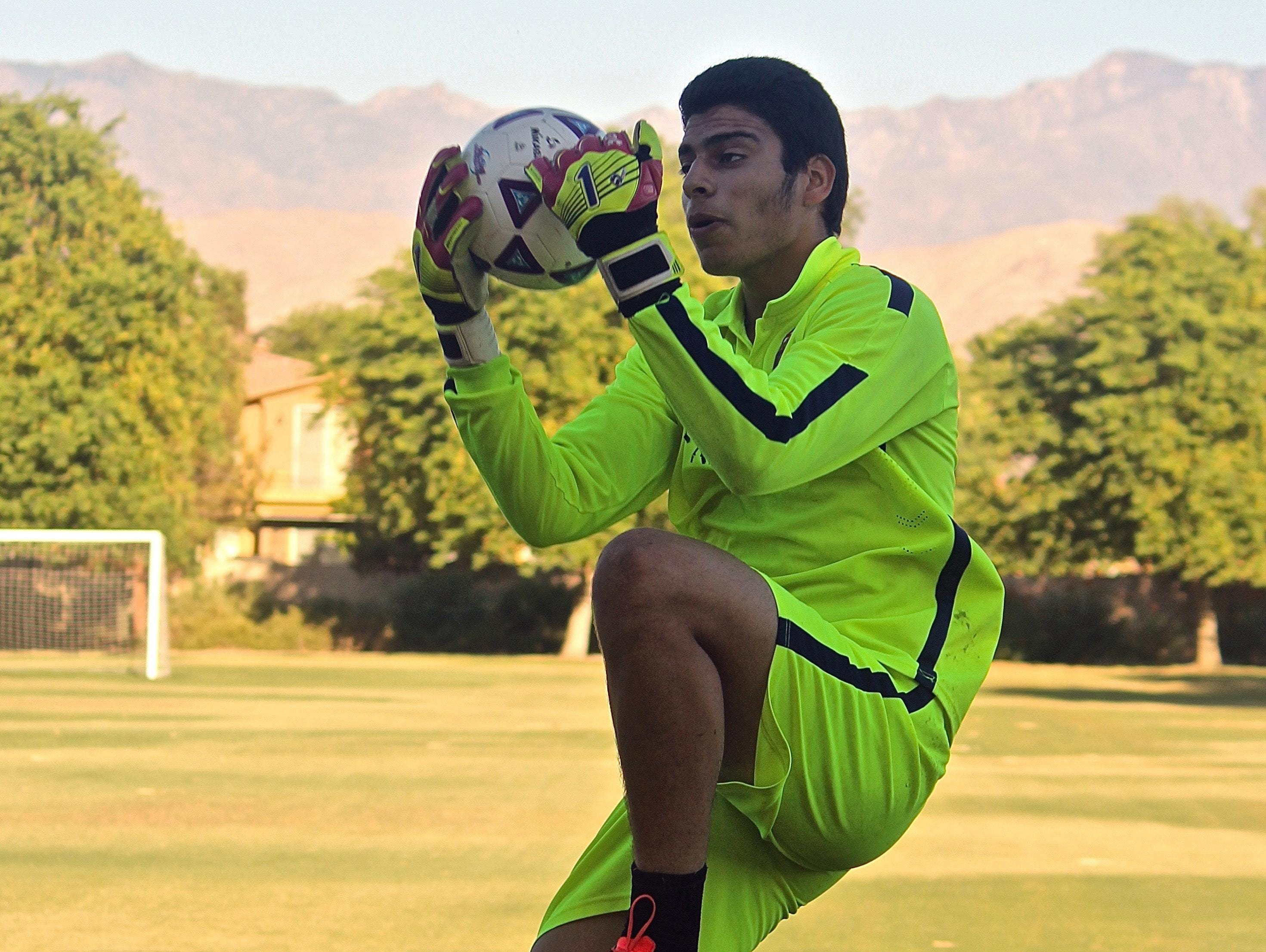Uriel Lopez practices at the Hovley Soccer Park in Palm Desert, on Tuesday. Lopez is on his way to Mexico this Friday where he will start Chivas Guadalajara's Development Program.
