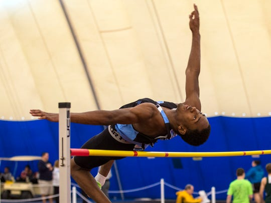 Asbury Park's Joinvilmar Davensky won the Boys Group 1  High Jump at the NJSIAA Central groups 1 and 4 Sectional Track.