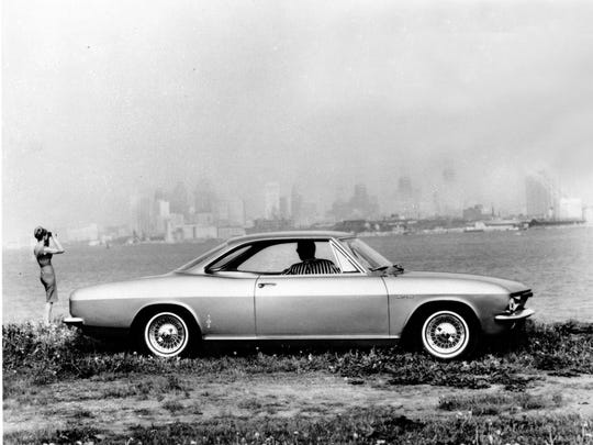 This is a 1965 photo of Chevrolet's rear engine Corvair Corsa sports coup.  Consumer protection advocate Ralph Nader's 1965 book 'Unsafe at Any Speed: The Designed-In Dangers of the American Automobile' was critical of the corvair's safety record.