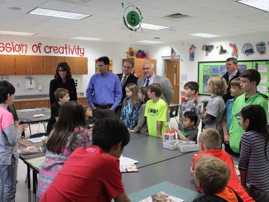 Gov. Scott Walker tours Mountain Bay Elementary School on April 11 with D.C. Everest Superintendent Kristine Gilmore and state Reps. Pat Snyder and John Spiros.