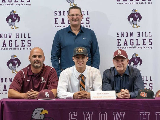 Zach Adams, a pitcher for the Snow Hill Eagles, will head to Campbell University following his graduation.