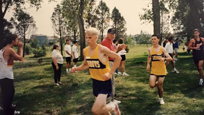 Rob Hoover, front, runs in a cross country meet for Watertown High School. He graduated in 1997.