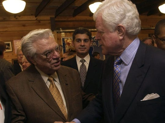 "Former state Rep. Jimmy Long (left) of Natchitoches shakes hands with U.S. Sen. Edward ""Ted"" Kennedy in this 2004 photo taken at the Louisiana Political Hall of Fame Museum in Winnfield. Long died in a traffic accident Tuesday in Natchitoches."